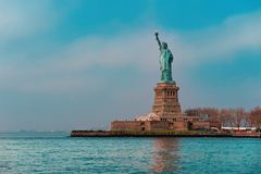 Statue of liberty wide view Manhattan New york City. Statue of liberty or lady liberty wide view Manhattan New york City stock photos