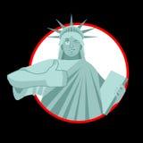Statue of Liberty Winks. thumbs up landmark  America. Sculpture Stock Photos