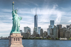 The statue of Liberty with World Trade Center background, Landmarks of New York City Royalty Free Stock Photography