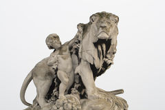 Statue lion. Children statue with majestic and proud lion statue Stock Images