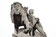 Statue lion. Children statue with majestic and proud lion statue Royalty Free Stock Photography