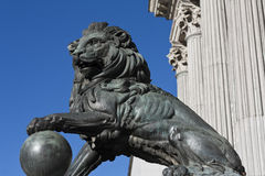 Statue of a lion. One of the two sculptures of a lion in front of the Spanish Parliament Stock Photography