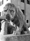 Statue of lion with book Royalty Free Stock Images