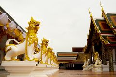 Statue of the Lion in Buddhism. Royalty Free Stock Photography