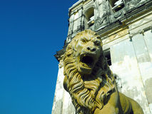 statue Lion Cathedral de Leon Nicaragua Central America Image stock