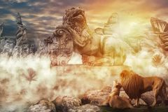 The statue of the lion king stock illustration