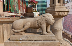 Statue of lion-like creature Haechi in Jogyesa Temple, Seoul, Ko Royalty Free Stock Images
