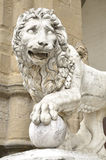 Statue of a lion at the Loggia dei Lanzi in Florence, Italy Stock Image