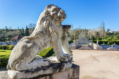 Statue of a lion near the royal castle. Sintra. Stock Photos