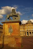 Statue of lion at New Castle in Stuttgart Stock Photo