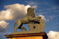 Statue of lion at New Castle in Stuttgart Royalty Free Stock Photos