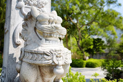 Statue of a lion in the Po Lin Monastery in Hong Kong Stock Photography