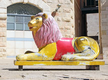 Statue of Lion. In Safra Square in Jerusalem,Israel Royalty Free Stock Image