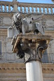 Statue of the lion of Saint Mark, Piazza Erbe, Verona Royalty Free Stock Photos