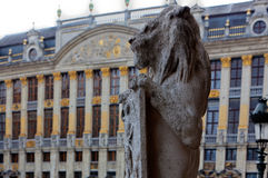 Statue lion shield Brussels, Belgium Royalty Free Stock Image