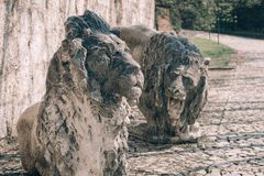Statue of lions stock photo