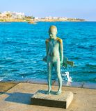 Statue Little Fisherman Paphos, Cyprus. PAPHOS, CYPRUS - FEBRUARY 13, 2019: Statue of Little Fisherman. Paphos, Cyprus royalty free stock photo