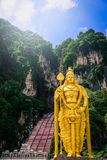 Statue of Lord Muragan and entrance at Batu Caves in Kuala Lumpur, Malaysia. royalty free stock image