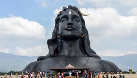 Statue of Lord Shiva. Adiyogi shiva temple built by Isha foundation in Coimbatore, India. It is a 34 metre tall statue designed by Sadhguru Jaggi Vasudev royalty free stock photography