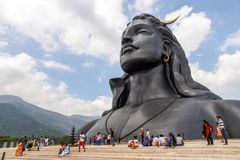 Statue of Lord Shiva. Adiyogi shiva temple built by Isha foundation in Coimbatore, India. It is a 34 metre tall statue designed by Sadhguru Jaggi Vasudev royalty free stock photo