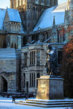 Statue of Lord Tennyson at Lincoln Cathdral. Statue of Alfred Tennyson the Poet Laureate and his dog at Lincoln Cathedral Stock Photo