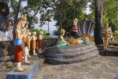 Statue of Lord Vishnu resting on Sheshnaag snake, with wife Lakshmi sitting and Lord Brahma, Nilkantheshwar Temple. Panshet, Pune Stock Images