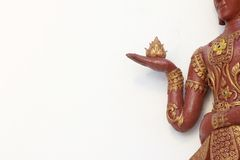 Statue lotus in hand Stock Photos