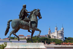 Statue of Louis XIV in Lyon city Stock Image
