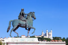 Statue of Louis XIV in Lyon. City Stock Images
