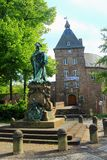 Statue of Louise Henriette von Brandenburg in Front of Moers Castle, North Rhine-Westphalia, Germany. The statue of Louise Henriette von Brandenburg commemorates royalty free stock images