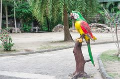 Statue Love bird in the open zoo. Statue Love bird for symbol in zoo Stock Photography