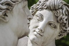 Statue of lovely Nymphs at Rosenstein park in Stuttgart. Germany, close up, details royalty free stock image