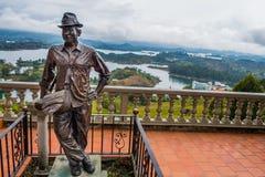 Statue of Luis Eduardo Villegas, Guatape, Colombia Royalty Free Stock Image