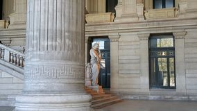 Statue of Lycurgos from entrance of Palace of Justice. Statue of the ancient spartan king in Brussels in Palace of Justice in Belgium, Europe Stock Photography