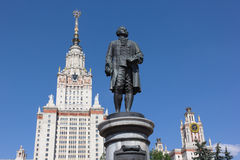 Statue of M.V. Lomonosov in front of Moscow State University Royalty Free Stock Photos