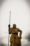 Statue made of stone with javelin Royalty Free Stock Photos