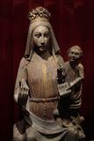 Statue of Madonna and Infant. Medieval statue of Madonna and Infant Stock Image