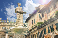 Statue of Madonna on Piazza delle Erbe, Verona,  Italy Royalty Free Stock Photo