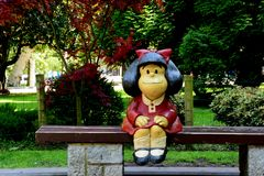 Statue of Mafalda in Oviedo stock images