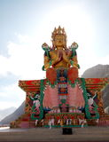 Statue of Maitreya Buddha Image in Tibetan Stlye at Diskit Monastery,  Nubra Valley, Ladakh North India Royalty Free Stock Photography