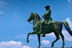 Statue man on horse. Soldier on horse in Vienna, Austria royalty free stock photos