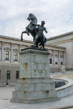 Statue of man with horse near Austrian parliament building Royalty Free Stock Images