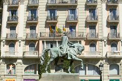 Statue of man on horse in old section of Barcelona, Spain Royalty Free Stock Image