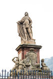 The statue of a man at the old bridge in Heidelberg Stock Images