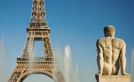 Statue of man at the Trocadero. Looking at the Eiffel Tower. Paris, France Stock Image
