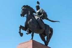 Statue of Manas, a Kyrgyzstan hero, riding a horse. Bishkek, Kyrgyzstan.= stock photography
