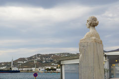 Statue of Manto Mavrogenousin the center spot of Mykonos, Greece royalty free stock photography