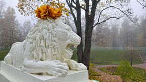 Statue of marble lion in Catherine park. Royalty Free Stock Photos