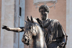 Statue of Marco Aurelio, Rome, Italy. Statue of the emperor Marco Aurelio on the Capitoline Hill in Rome, Italy Stock Image