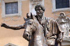 Statue Marco Aurelio in Rome, Italy. Piazza del Campidoglio - Statue Marco Aurelio at the Capitoline Hill in Rome, Italy Stock Images